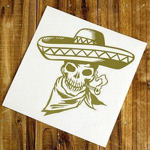 ステッカー 車 スカル アメリカン おしゃれ バイク かっこいい 転写 メキシカン ゴールド メール便OK_SC-SK006GO-TST|planfirst