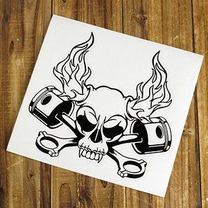 ステッカー 車 スカル アメリカン おしゃれ バイク かっこいい 転写 ホットロッド ブラック メール便OK_SC-SK007BK-TST|planfirst