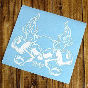 ステッカー 車 スカル アメリカン おしゃれ バイク かっこいい 転写 ホットロッド ホワイト メール便OK_SC-SK007WH-TST|planfirst