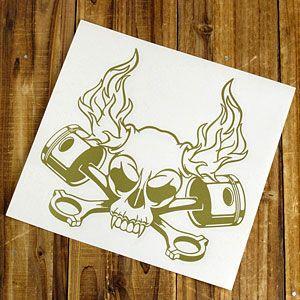ステッカー 車 スカル アメリカン おしゃれ バイク かっこいい 転写 ホットロッド ゴールド メール便OK_SC-SK007GO-TST|planfirst