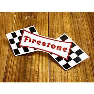 ステッカー 車 アメリカン おしゃれ バイク ヘルメット かっこいい 復刻 ファイアストン ファイヤストーン Firestone チェッカー メール便OK_SC-DZ271-MON|planfirst