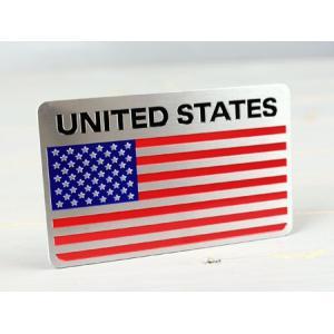 ステッカー 車 国旗 アメリカン おしゃれ バイク かっこいい スーツケース エンブレム アメリカンフラッグ アルミプレート サイズL メール便OK_SC-AE2-TMS|planfirst