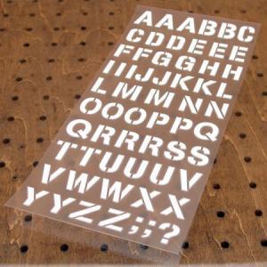 アルファベットステンシル転写ステッカー63Pセット ホワイト メール便OK_SC-AP249-TMS|planfirst