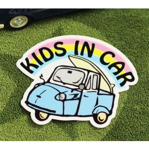 KIDS IN CAR ステッカー 車 子供 アメリカン 子供乗ってます おしゃれ かっこいい オート三輪 サイズM メール便OK_SC-BIM10-LFS|planfirst
