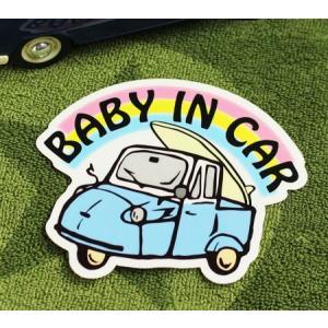 BABY IN CAR ステッカー 車 赤ちゃん アメリカン 赤ちゃん乗ってます おしゃれ かっこいい オート三輪 サイズM メール便OK_SC-BIM9-LFS|planfirst