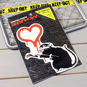 バンクシー ステッカー ウォールステッカー 車 ネズミ おしゃれ バイク かっこいい BANKSY Love Rat メール便OK_SC-BKW002-ACT|planfirst