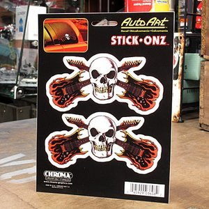 ステッカーセット 車 アメリカン スカル おしゃれ バイク ヘルメット かっこいい ギター STICK ONZ メール便OK_SC-DA3608-MON|planfirst