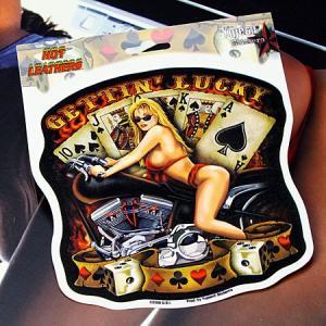 ステッカー 車 アメリカン セクシー おしゃれ バイク かっこいい ピンナップガール トランプ Gettin' Lucky YUJEAN メール便OK_SC-JA192-HYS|planfirst