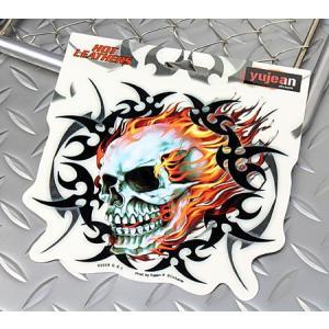 ステッカー 車 アメリカン スカル おしゃれ バイク トライバル かっこいい Tribal Flame Skull YUJEAN メール便OK_SC-JA195-HYS|planfirst