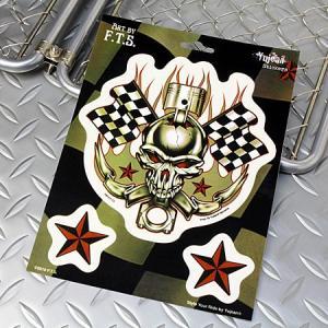 ステッカーセット 車 アメリカン スカル おしゃれ バイク かっこいい ピストン Racing Skull YUJEAN メール便OK_SC-JA346-HYS|planfirst