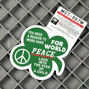 ステッカー 車 バイク アメリカン 世田谷ベース かっこいい クローバー 「どうして世界が平和でなければ...」 サイズM メール便OK_SC-MOT007M-SXW|planfirst