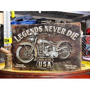 看板 サインプレート サインボード アメリカン ガレージ バイク 男前インテリア LEGENDS NEVER DIE サイズS メール便OK_SP-016-FEE|planfirst