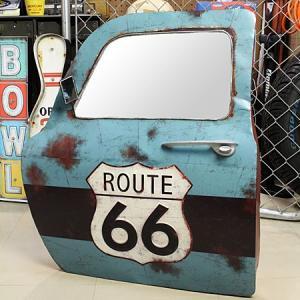 ドア型ウォールミラー 壁掛け鏡 アンティーク調 ルート66 ROUTE66 [車/アメリカ]_ZZ-20521-FEE|planfirst