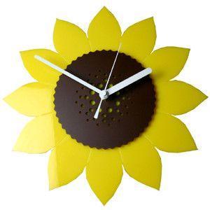 掛け時計/壁掛け時計/フラワークロック ひまわり|plasart