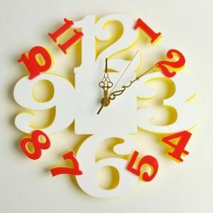 掛け時計/壁掛け時計/リズムクロックプラス ホワイトイエロー|plasart