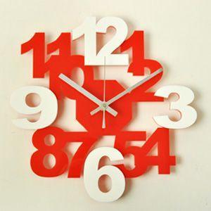掛け時計/壁掛け時計/ロックロックプラス レッドホワイト|plasart