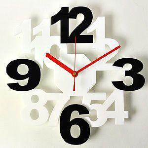 掛け時計/壁掛け時計/ロックロックプラス ホワイトブラック|plasart