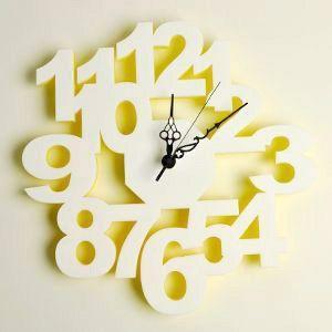 掛け時計/壁掛け時計/ロックロック ホワイトイエロー|plasart