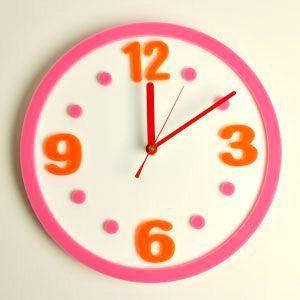 掛け時計/壁掛け時計/ラウンドクロック ピンクオレンジ|plasart