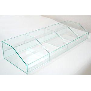 アクリルスリット陳列ケース/Hタイプ/ガラス色/仕切6枚付|plasart