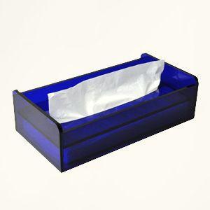 アクリルティッシュケース/ティッシュボックス/ティッシュカバー クリアブルー plasart