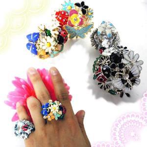 指輪フラワーガーデンシルバーゴールドリングてんとうむし花園ブーケ蝶々クリスタルアールヌーヴォー|plasticanetshop