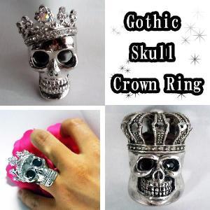 指輪ゴシックスカルクラウンリングスカルキング&レッドスカル髑髏男女兼用ごつめシルバーアクセ|plasticanetshop