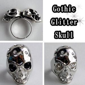 セール髑髏指輪ツインスカルリングゴシックスカルグリッターラインストーンリングスカルヘッド男女兼用ごつめシルバーアクセ|plasticanetshop