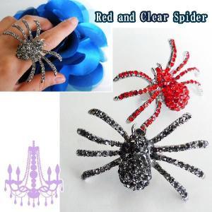 指輪グリッターレッドクリアビッグスパイダーラインストーン蜘蛛リングゴシックロリータパンクフリーリング|plasticanetshop