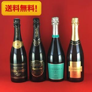 ワインセット 送料無料  大人の贅沢 高級感あふれるスパークリングワイン 飲み比べ 4本セット|plat-sake