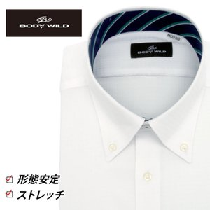 「BODY WILD」らしいクールなプリント柄を衿腰内側に施したボタンダウンカラーシャツ(ホワイトド...