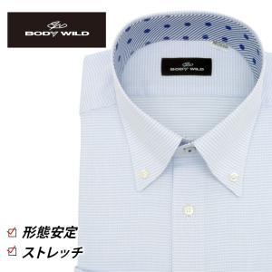 「BODY WILD」らしいクールなプリント柄を衿腰内側に施したボタンダウンカラーシャツ(ホワイト×...