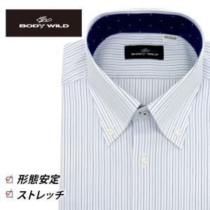 「BODY WILD」らしいクールなプリント柄を衿腰内側に施したボタンダウンカラーシャツ(ホワイトヘ...