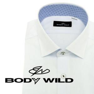 「BODY WILD」らしいクールなプリント柄を衿腰内側に施したワイドカラーシャツ(ホワイトドビー×...
