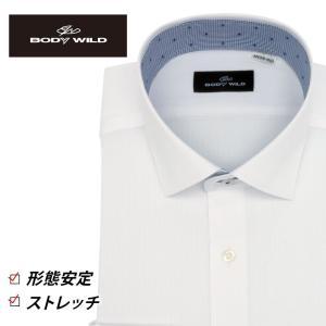 「BODY WILD」らしいクールなプリント柄を衿腰内側に施したワイドカラーシャツ(ホワイトドビース...