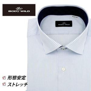 「BODY WILD」らしいクールなプリント柄を衿腰内側に施したワイドカラーシャツ(ホワイト×ライト...