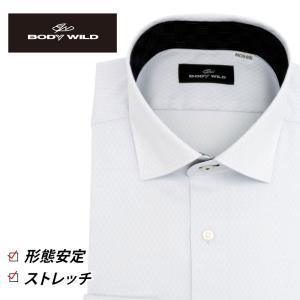 「BODY WILD」らしいクールなプリント柄を衿腰内側に施したワイドカラーシャツ(ライトパープルド...