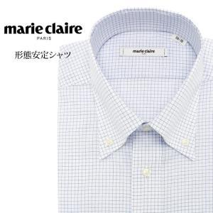 ワイシャツ メンズ 長袖 形態安定 形状記憶 標準型 marieclaire ボタンダウン P12MCB218|plateau-web