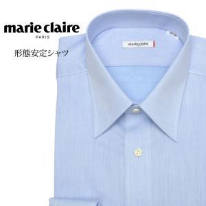 ワイシャツ メンズ 長袖 形態安定 形状記憶 標準型 marieclaire レギュラーカラー P12MCR211|plateau-web