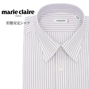 ワイシャツ メンズ 長袖 形態安定 形状記憶 標準型 marieclaire レギュラーカラー P12MCR214|plateau-web