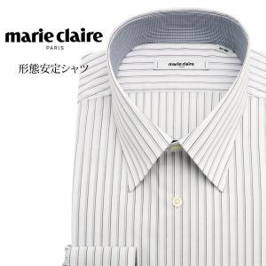 ワイシャツ メンズ 長袖 形態安定 形状記憶 標準型 marieclaire レギュラーカラー P12MCR218|plateau-web