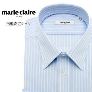 ワイシャツ メンズ 長袖 形態安定 形状記憶 標準型 marieclaire レギュラーカラー P12MCR219|plateau-web