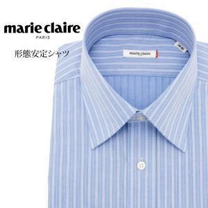 ワイシャツ メンズ 長袖 形態安定 形状記憶 標準型 marieclaire ワイドスプレッド P12MCW201|plateau-web
