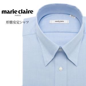 ワイシャツ メンズ 長袖 形態安定 形状記憶 標準型 marieclaire スナップダウン P12MCZD04|plateau-web