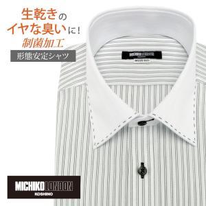 スタイリッシュな着こなしが叶う、ホワイトドビー×ブラックストライプシャツです。セミワイドカラーのクレ...