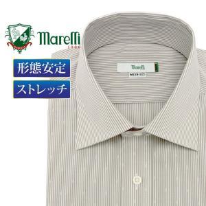 着こなしやすい定番のワイドカラーのベージュ×ホワイトストライプ+ドビー柄シャツ。クラシックなカラーを...