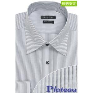 シンプルなデザインにカラー釦で程よくアクセントをプラスしたセミワイドカラーシャツ(グレーストライプ)...