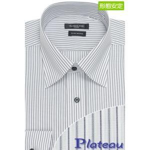 シンプルなデザインにカラー釦で程よくアクセントをプラスしたセミワイドカラーシャツ(グレー×ネイビース...