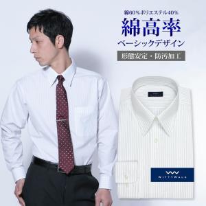 ワイシャツ Yシャツ メンズ長袖 レギュラーカラー 形態安定 WITTYWALK P12WWR205|plateau-web