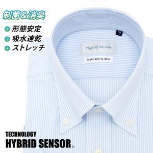 ワイシャツ メンズ 半袖 形態安定 形状記憶 標準型 HybridSensor ボタンダウン P16HBB060|plateau-web